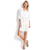 Seafolly Crinkle Lange Blouse White