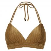 Beachlife Dull Gold Halter Bikinitop