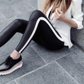 Spanx Faux Leather Side Stripe Legging Very Black