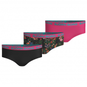 Björn Borg Mystic Flower 3-Pack Hipsters Girls Black Beauty
