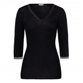 Hanro Woolen Lace 3/4 mouw Shirt Black