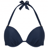 Beachlife Black Iris Voorgevormde Halter Bikinitop Donkerblauw