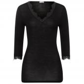 Hanro Woolen Lace Shirt Met Driekwart Mouwen Black