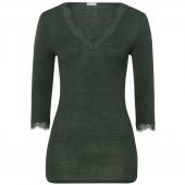 Hanro Woolen Lace Shirt Met Driekwart Mouwen Green Marble